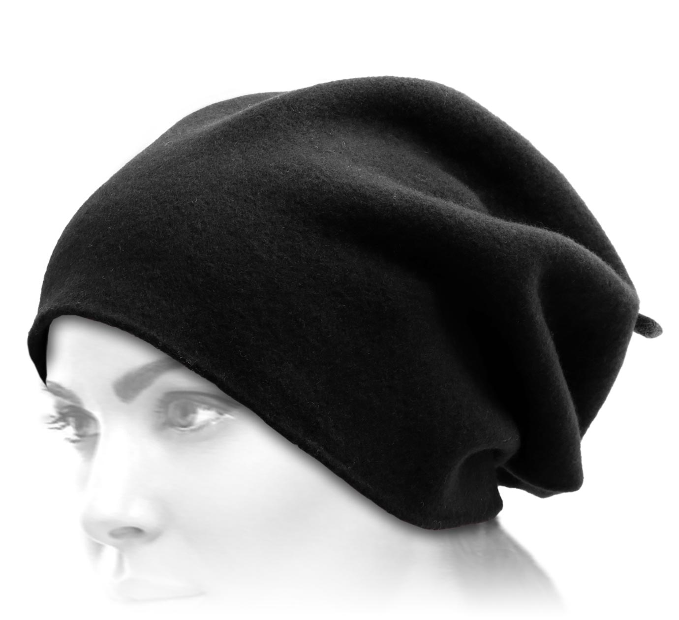 bonnet long Woollen Roll Upp Beret